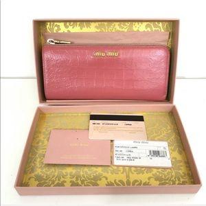 Miu Miu Croc pink wallet St. Cocco